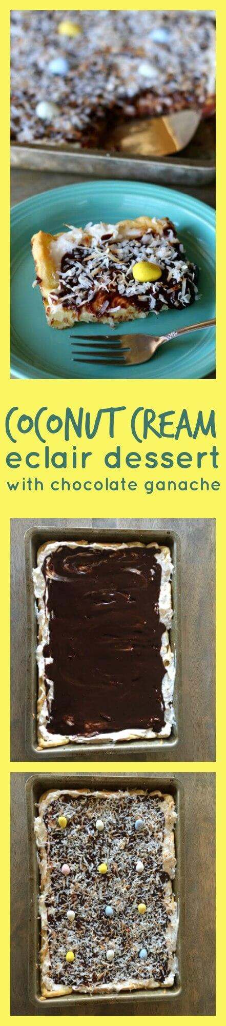 Coconut Cream Eclair Dessert with Chocolate Ganache