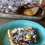 coconut cream eclair dessert with chocolate ganache and toasted coconut