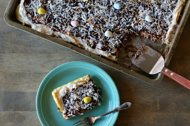 Coconut Cream Pie Eclair Dessert with Chocolate Ganache and toasted coconut makes a perfect Easter dessert