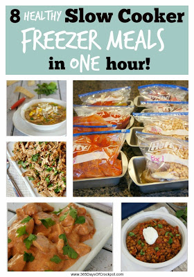 How to make 8 slow cooker/crockpot freezer meals in just one hour. They are healthy recipes to! Makes your life so much easier.