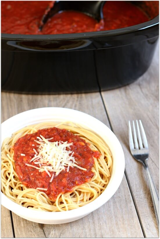Easy to make crockpot spaghetti sauce