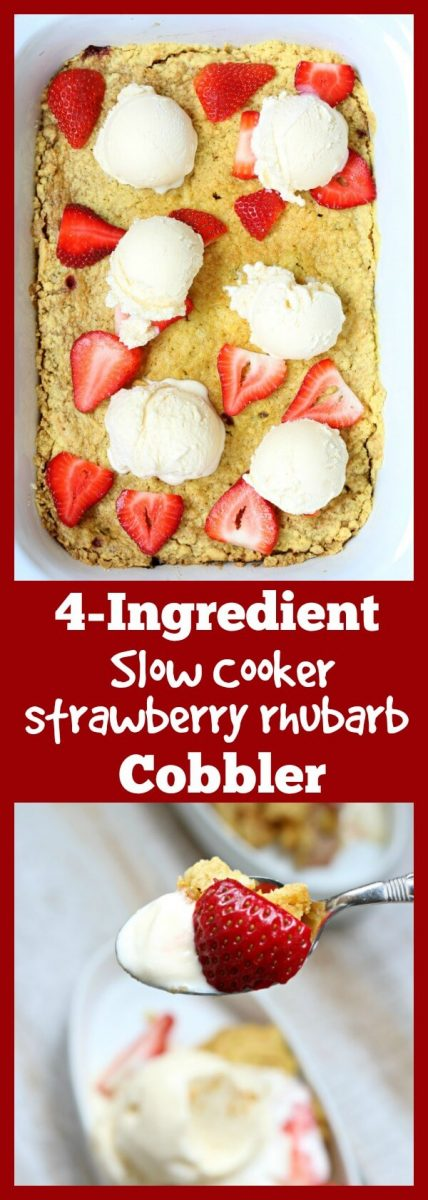 4 ingredient slow cooker recipe for strawberry rhubarb cobbler