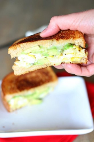 Avocado, Egg and Pepper Jack Grilled Cheese Sandwich on Whole Wheat Bread