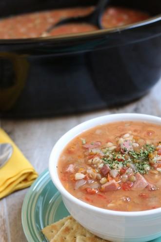 Slow Cooker Ham, Lentil and Barley Soup