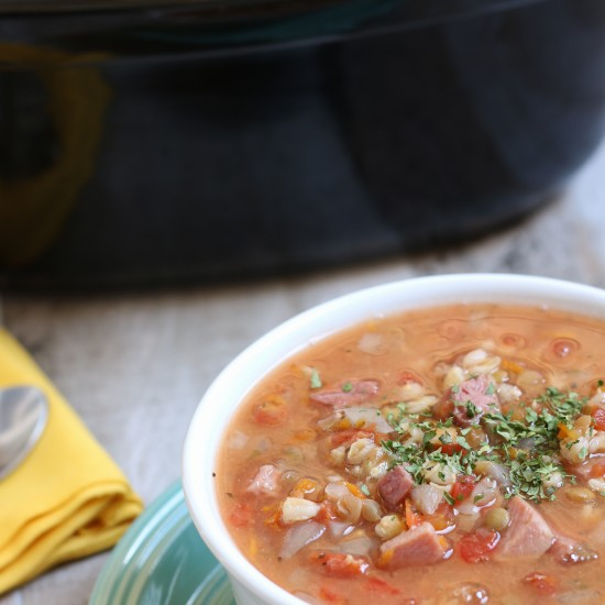 slow cooker recipe for ham, lentil and barley soup