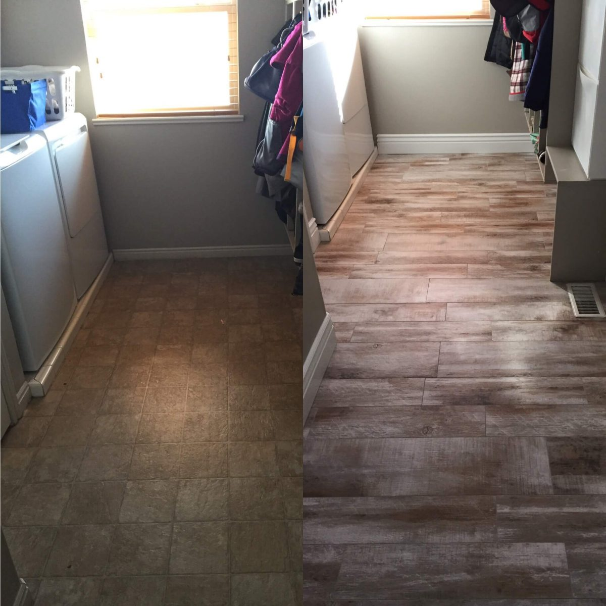 Flooring before and after reveal wood looking tile 365 days of from laminate to tile in the laundry room dailygadgetfo Gallery