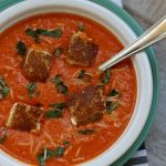 roasted red pepper soup with grilled cheese sandwich croutons