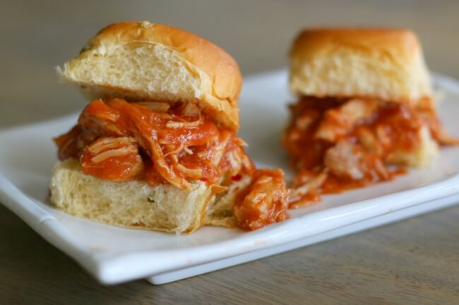 shredded spicy chipotles chicken with jalapeno slider buns