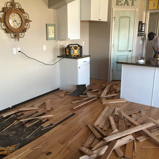 tearing out wood floors