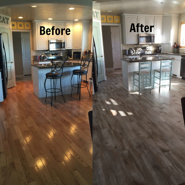 From oak wood flooring to wood looking tile in the kitchen. It doesn't - Flooring Before And After Reveal-Wood Looking Tile - 365 Days Of