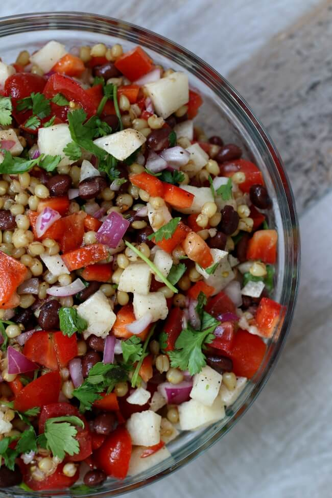 Wheat Berry Salad with Lime Vinaigrette, black beans, avocados, tomatoes, peppers, jicama and cilantro