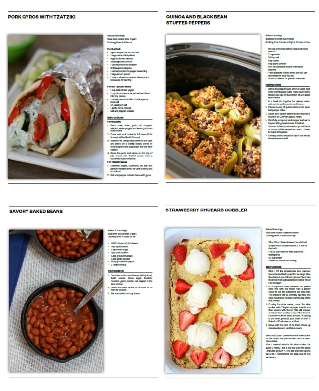 examples of pages from slow cooker summer book