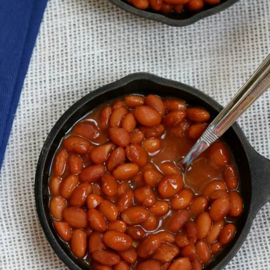 Easy recipe for slow cooker savory baked beans