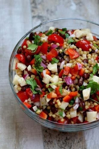 Wheat Berry Salad with Lime Dressing and Avocados, Peppers, Jicama and Tomatoes