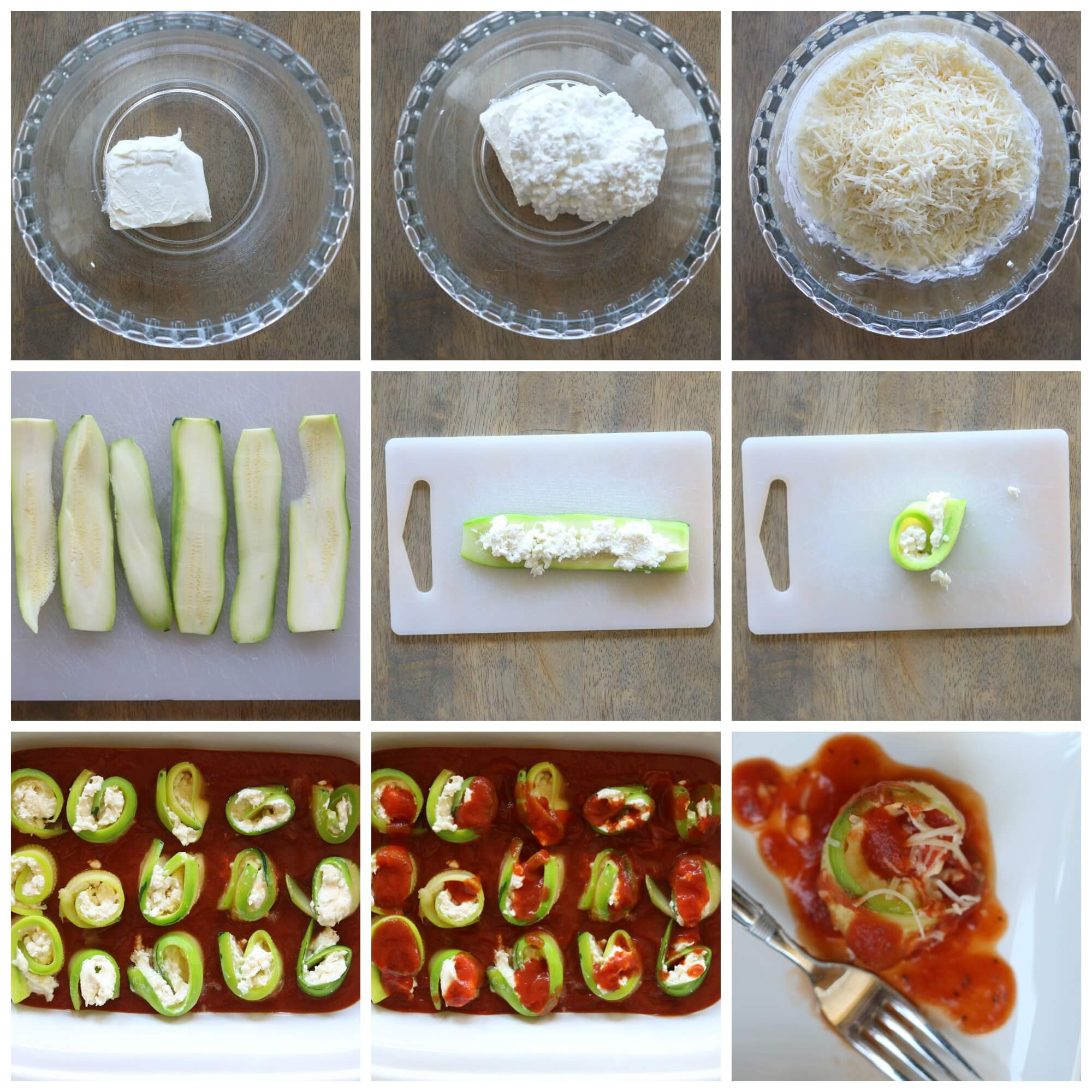 step by step instructions on how to make zucchini rollups in the slow cooker