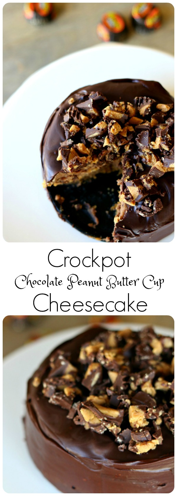 Slow Cooker Peanut Butter Cup Mini Cheesecake: This recipe is full of all the good things you love--cream cheese, peanut butter, chocolate and Reese's mini peanut butter cups. But it's only enough servings for two or three people so you won't have endless leftovers to tempt you for days and days. Plus this cheesecake is made in the slow cooker which cooks the dessert very slow and evenly and produces a perfect result with no cracking on the top of the cheesecake!