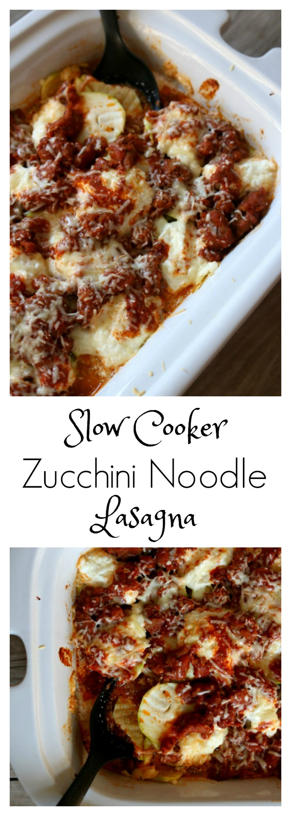Slow Cooker Zucchini Noodle Lasagna: an easy recipe for a red sauce lasagna with gooey cheese, spicy sausage and sliced zucchini that is used for the noodles all made in your crockpot!