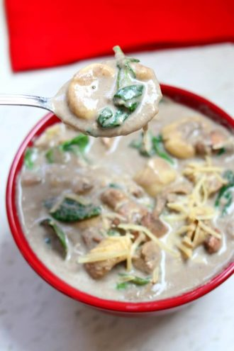 Slow Cooker Chicken Mushroom Tortellini Soup + New Podcast Episode 021 on Birth Order
