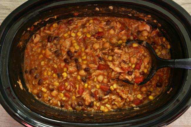 Slow Cooker Corn, Rice and Salsa Chicken Soup--a thick taco soup with ...