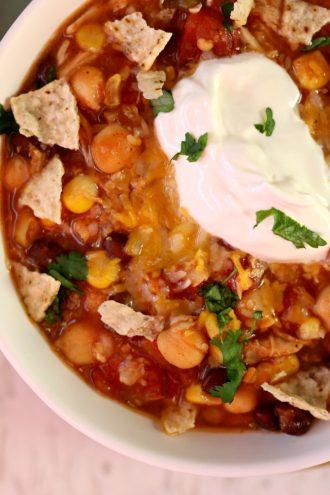 Slow Cooker Corn Rice Salsa Chicken Soup