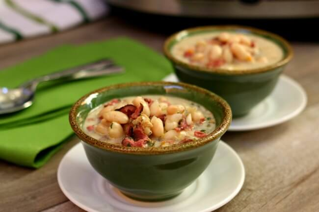 Slow Cooker White Bean and Pastrami Soup--an easy recipe for a creamy crockpot soup made with dried white beans, chopped vegetables, flavorful seasonings and salty pastrami (or you can use ham).