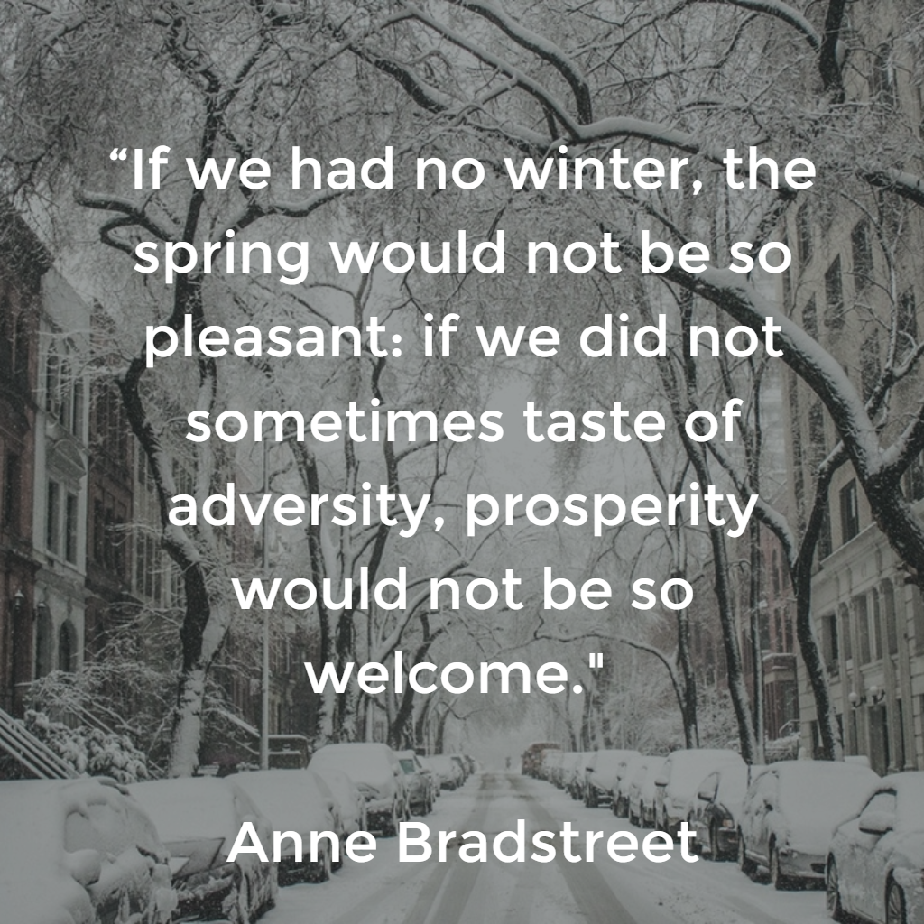 """""""If we had no winter, the spring would not be so pleasant: if we did not sometimes taste of adversity, prosperity would not be so welcome."""" Anne Bradford"""