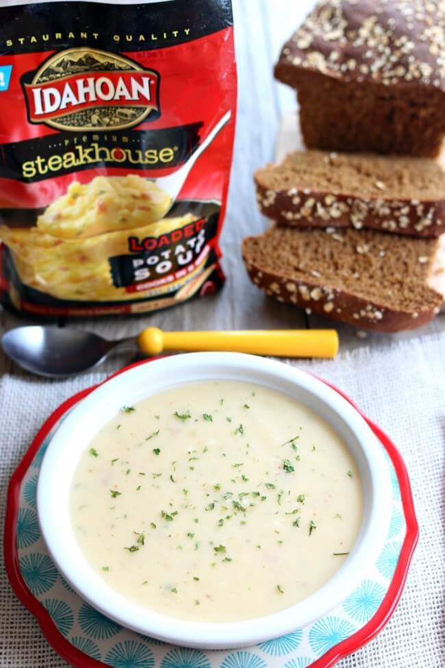 Idahoan® Premium Steakhouse® Potato Soups bring the steakhouse experience to your own home in minutes. And not even 15 minutes, more like five minutes. These just add water mixes let you prepare restaurant-quality soup in your kitchen within five minutes. Idahoan® Premium Steakhouse® Potato Soups are available in four delicious flavor varieties: Creamy Potato, Loaded Potato, Cheddar Broccoli and Three Cheese Chipotle.