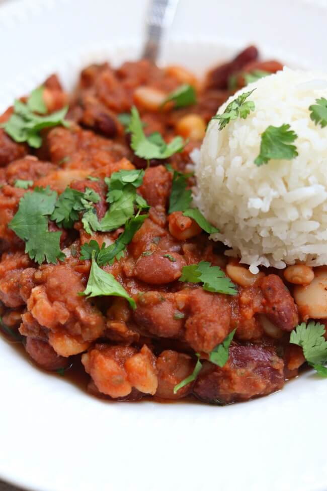 Cajun Beans and Rice--a meatless, saucy, cajun seasoned dish that uses dried beans in the slow cooker or on the stovetop. A perfect dish for Mardi Gras.