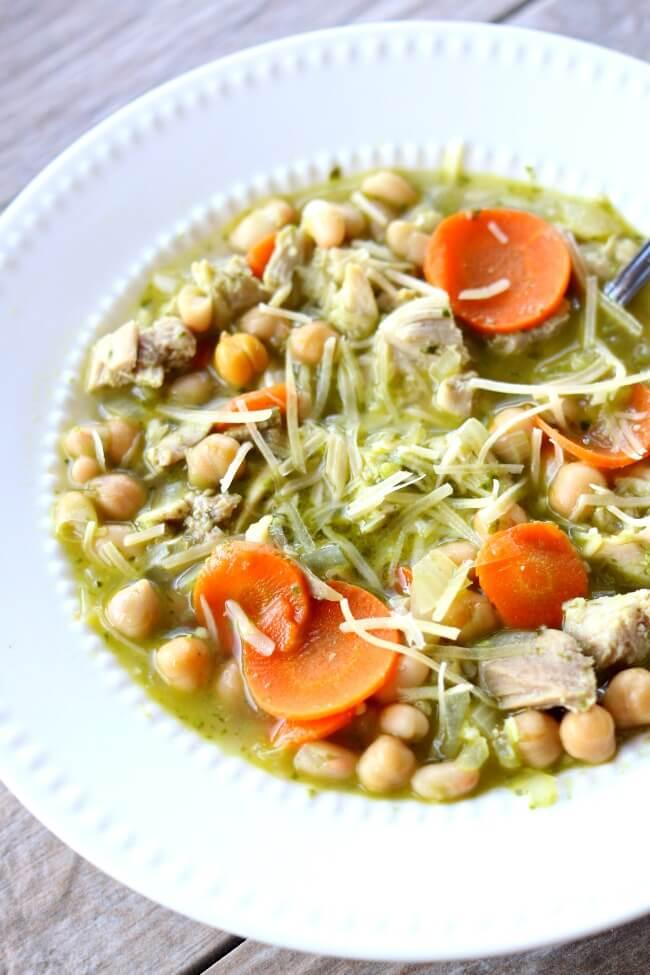 Pesto Bean Soup--moist bites of chicken, tender chickpeas and white ...