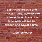 big things are built one brick at a time