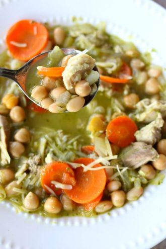 Slow Cooker Chicken Pesto Bean Soup