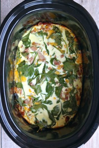 Slow Cooker Crustless Spinach Quiche