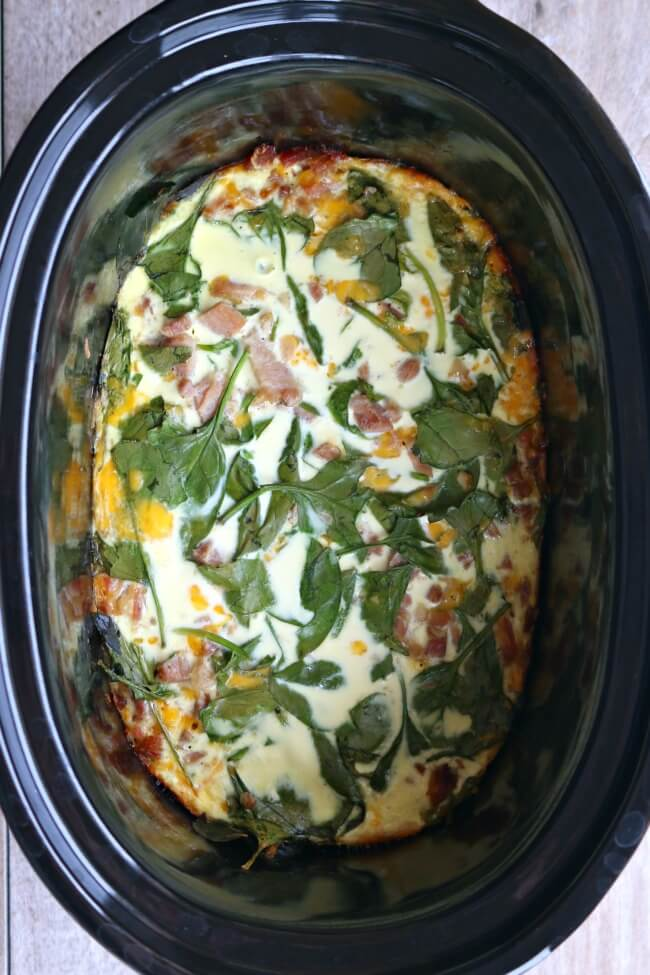 slow cooker crustless spinach quiche recipe