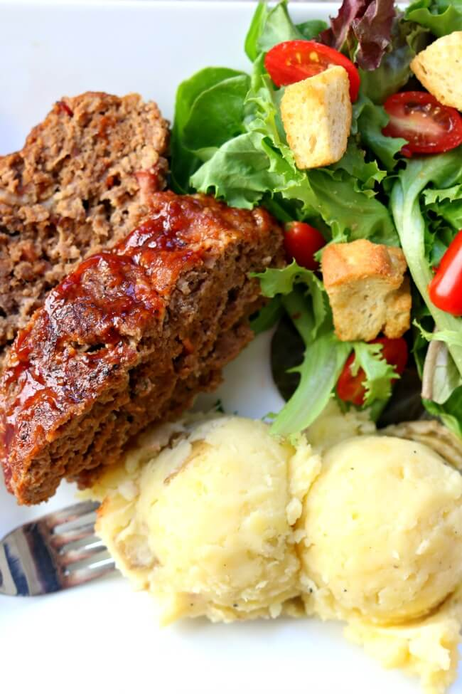 Instant Pot Bacon Barbecue Meatloaf with Mashed Potatoes--the best flavored meatloaf ever is cooked at the same time and in the same pressure cooker as your mashed potatoes. Add a tossed salad and you have a complete meal ready to go in just a few minutes.