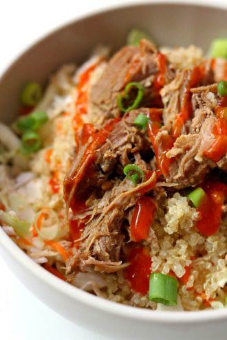 Slow Cooker Pork Quinoa Cabbage Bowls