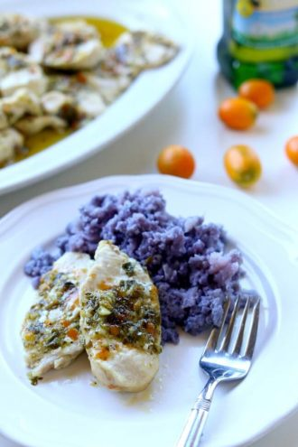 Basil Kumquat Chicken with Purple Cauliflower Mash