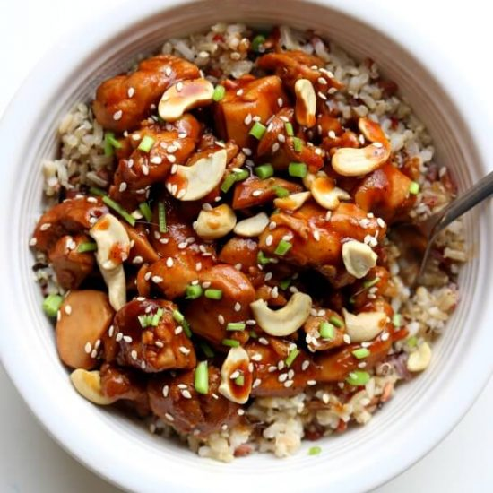 this cashew chicken is just as good as your favorite Chinese restaurant.  It's super easy and flavorful and it's all made in the comfort of your own kitchen. The instant pot speeds up the process and helps get dinner on the table in minutes.