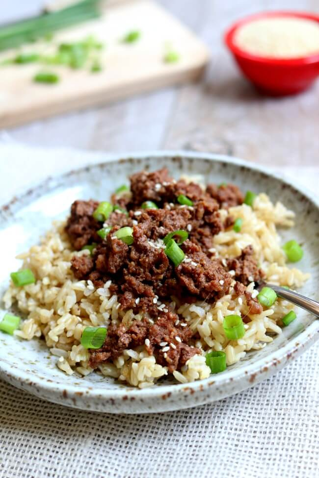 Instant Pot Cheater Korean Beef and Brown Rice--a quick version of a classic recipe made in your electric pressure cooker. The best part is that the beef and rice cook at the same time in the same Instant Pot.