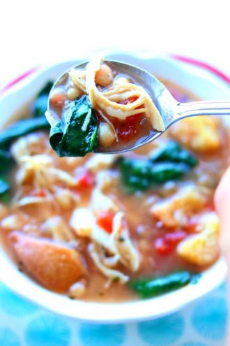 Slow Cooker Chicken White Bean Spinach Soup