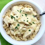Slow Cooker Creamy Chicken: the easiest cheater recipe out there. Chicken, cream cheese, cream of chicken soup and an Italian dressing mix packet are combined to make a delicious chicken and rice dinner with hardly any work.