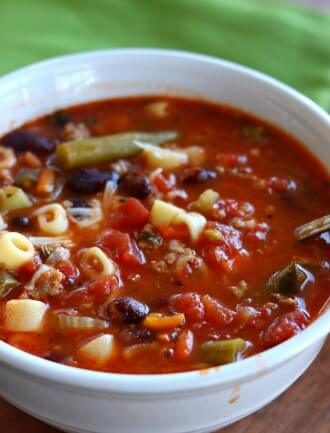 Slow Cooker (Ground Turkey) Minestrone Soup