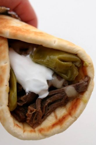 Slow Cooker Mississippi Roast Gyros