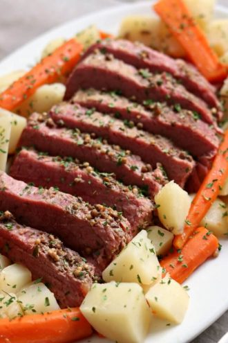 Slow Cooker Corned Beef Dinner with Mustard Sauce