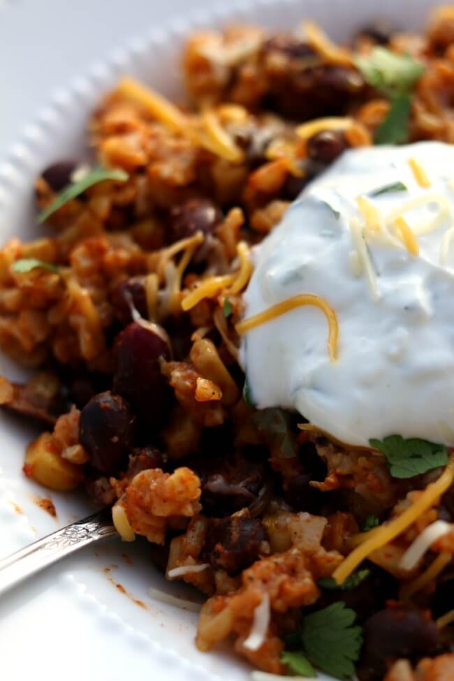 Back to School Instant Pot Recipes--santa fe rice and beans with garlic lime sour cream