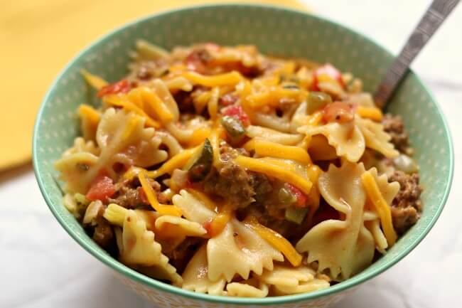 If you love cheeseburgers you'll love this instant pot cheeseburger pasta that has pickles, steak seasoning, ketchup and mustard.
