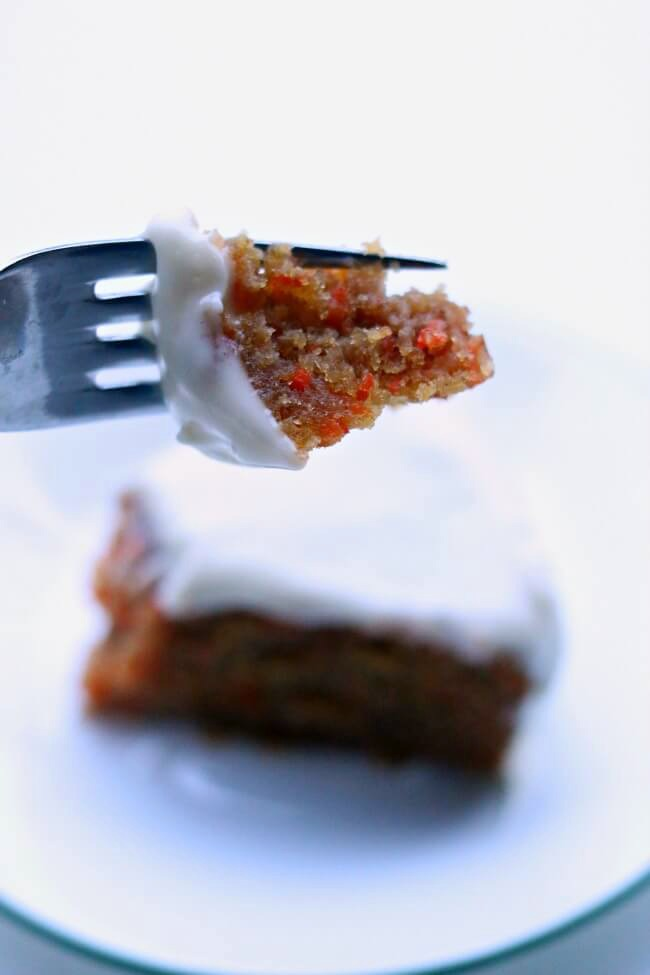 Instant Pot Steamed Carrot Cake--a one layer dense and moist steamed carrot cake that is served with decadent cream cheese frosting.