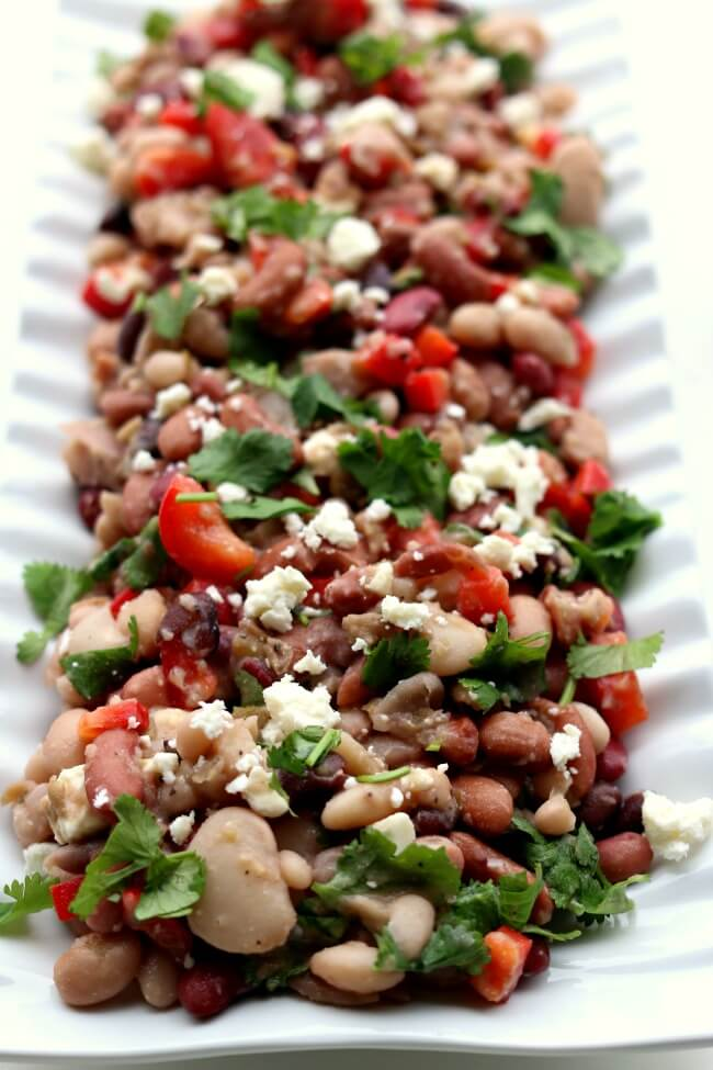 15 Bean Salad --a variety of dried beans are cooked in your electric pressure cooker or slow cooker and then stirred together with a red wine vinaigrette dressing, red bell pepper, feta cheese and cilantro. This salad serves a crowd and is perfect for a potluck or picnic.