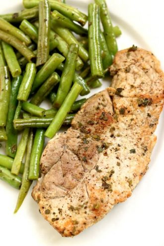 Slow Cooker Garlic Herb Pork Chops and Green Beans