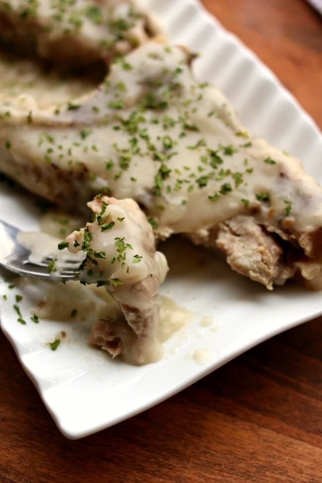 Creamy Mushroom Sauce Pork--the easiest recipe ever. With only 2 ingredients the prep for this pork dinner is minimal. Plus you make it in the slow cooker or Instant Pot so it's completely a hands-off recipe.