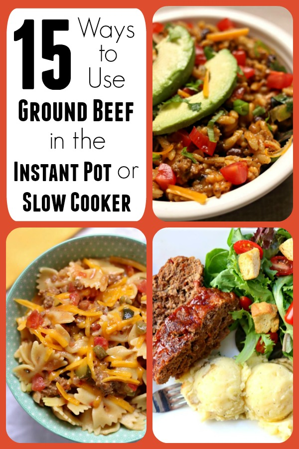 Have a pound of ground beef or ground turkey hanging out in your fridge or freezer? Want to mix it up and make something other than spaghetti? Here are 15 ways to use ground beef in the instant pot or slow cooker to give you some ideas on what to make for dinner tonight!